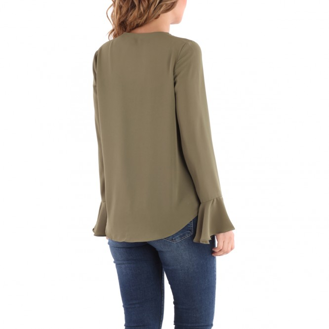Blouse à volants kaki