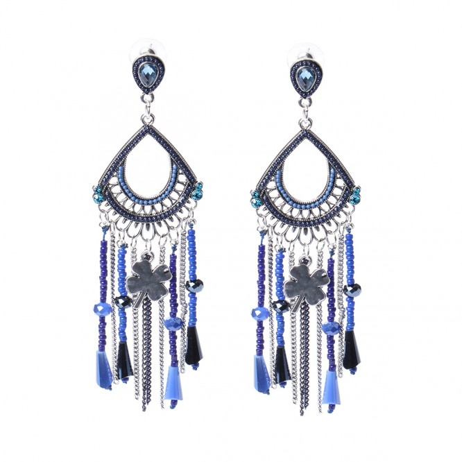 boucles d 39 oreilles pendentif tr fle bleu. Black Bedroom Furniture Sets. Home Design Ideas