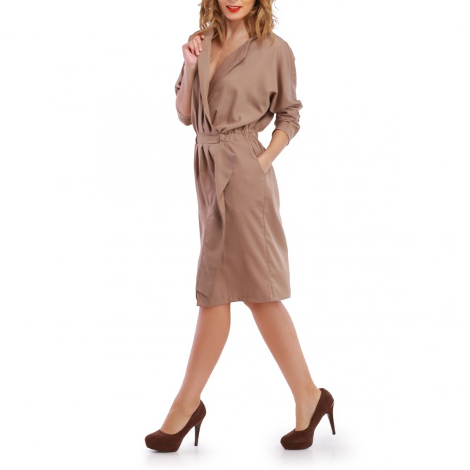 Robe portefeuille taupe