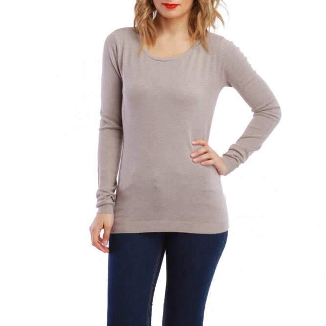 Pull détail ailles strass taupe