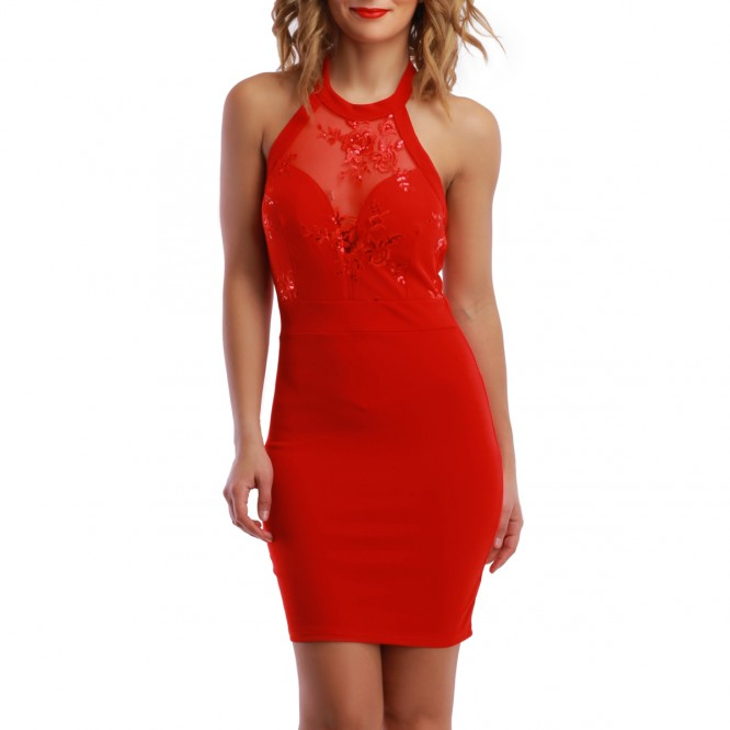 Robe dos nu broderie rouge