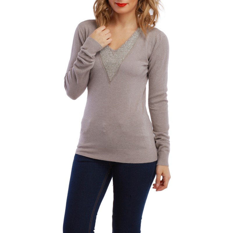 Pull col V détails strass taupe