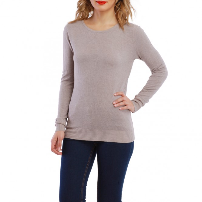 Pull dos dentelle et noeud taupe
