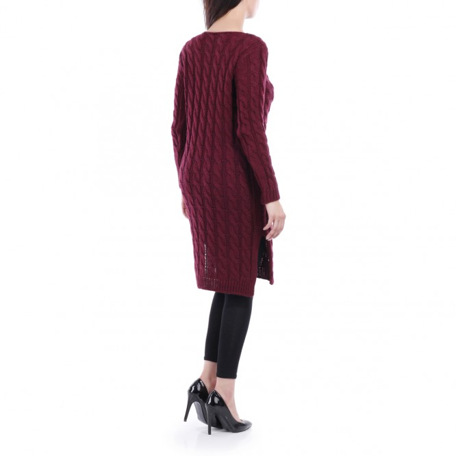 Robe pull fendue col arrondi bordeaux