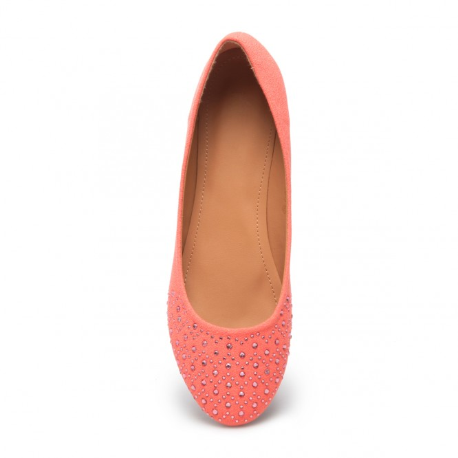 Ballerines grandes tailles détail strass rose