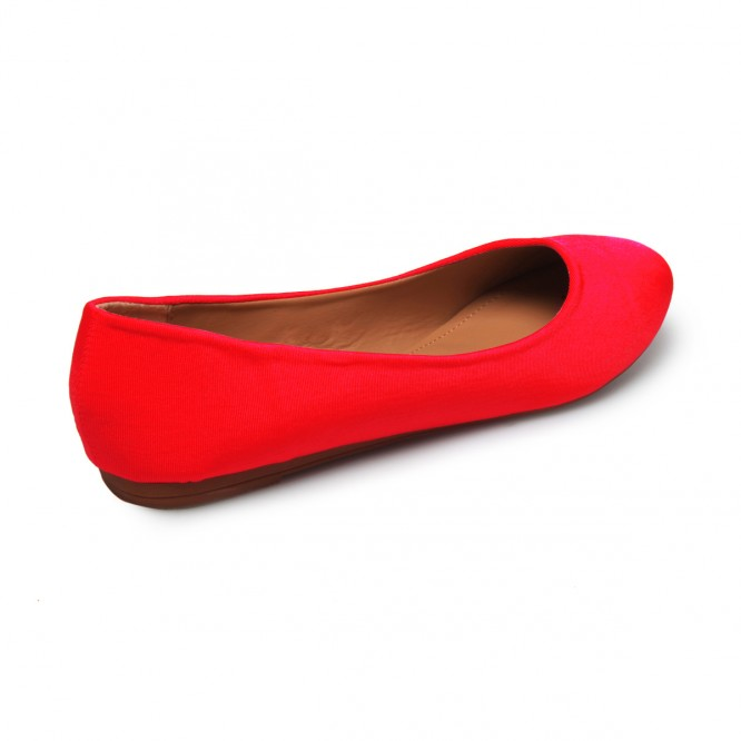 Ballerines grandes tailles satiné rouge