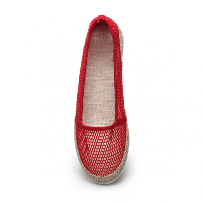 Slippers à grosse maille rouge