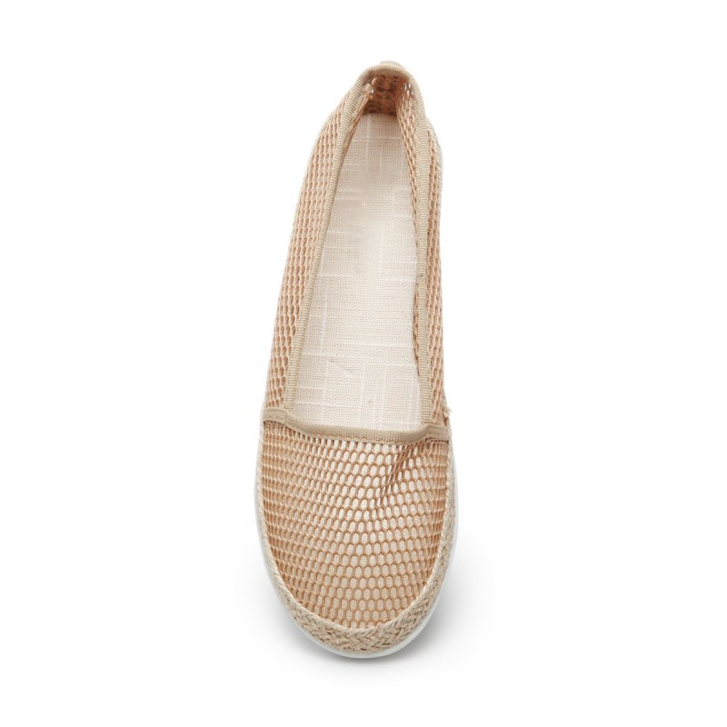 Slippers à grosse maille beige