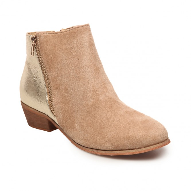 Bottines effet scintillant beige