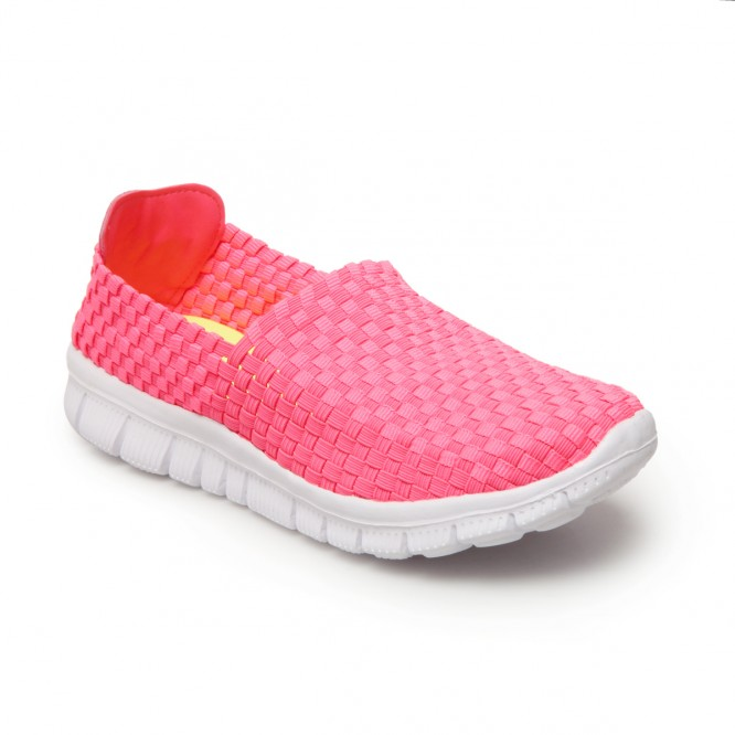Baskets slip-on élastique rose fluo