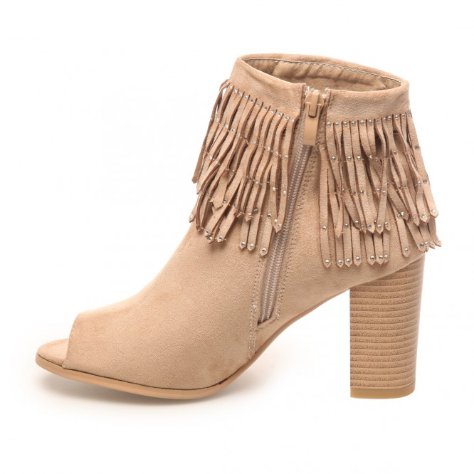 Bottines peep toes à franges beige