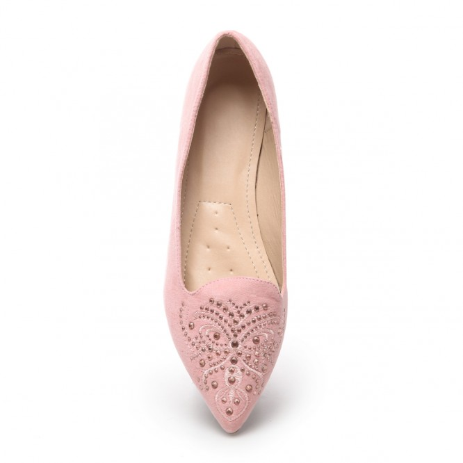 Slippers simili daim strass rose