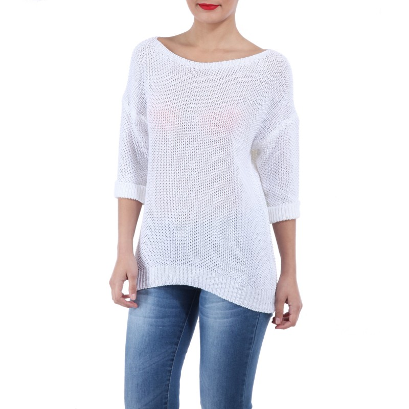 Pull fin manches 3/4 blanc