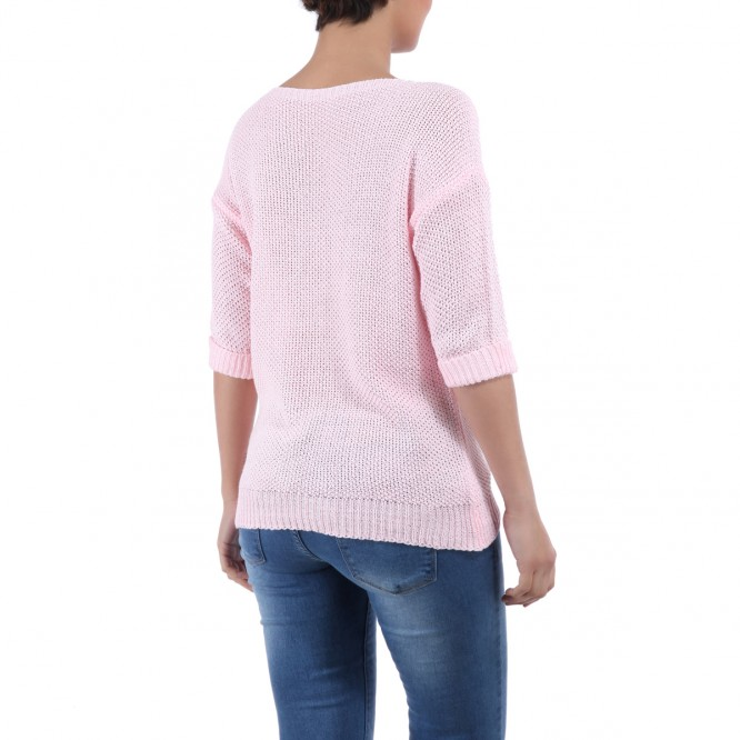 Pull fin manches 3/4 rose