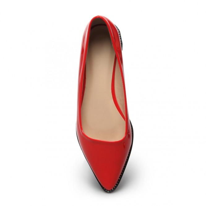 Ballerines verni bout pointu rouge