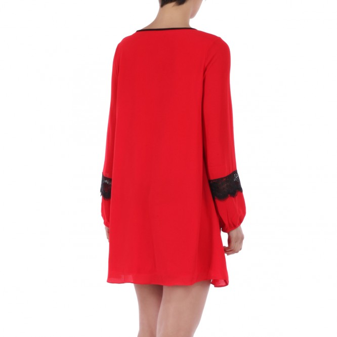 Robe manches longues dentelle rouge