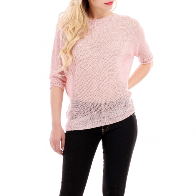 Pull rose maille ajourée