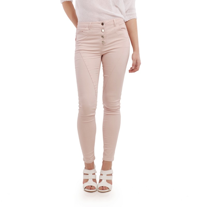 Jeans rose 3 boutons avec poches
