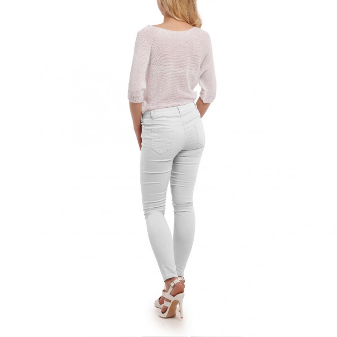 Jeans blanc 3 boutons avec poches