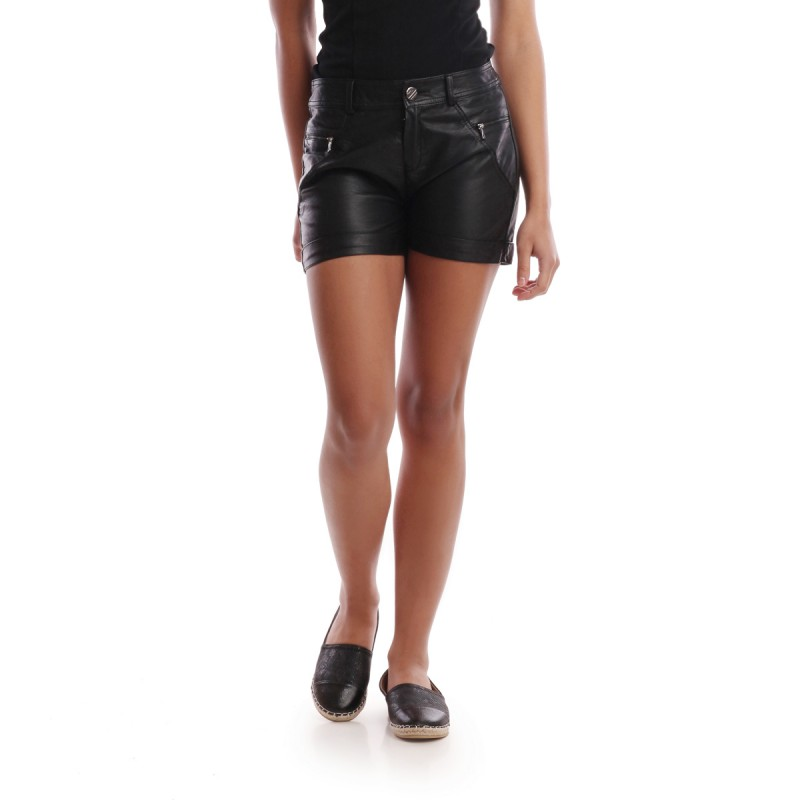 Short noir simili cuir