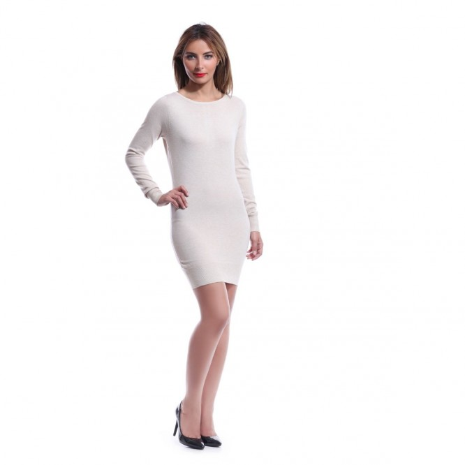 Robe pull dos strass et papillons beige