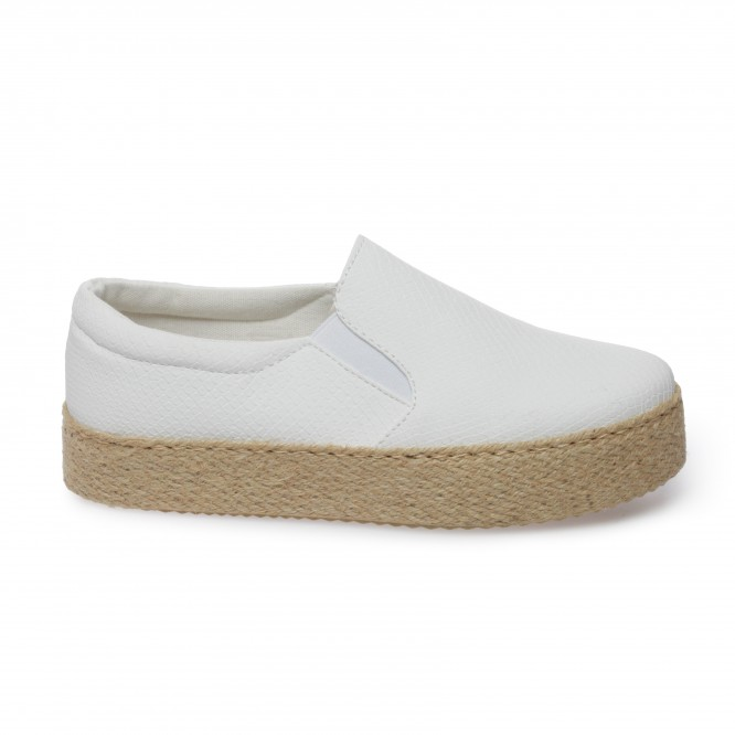 Slip-on à plateforme blanches aspect python