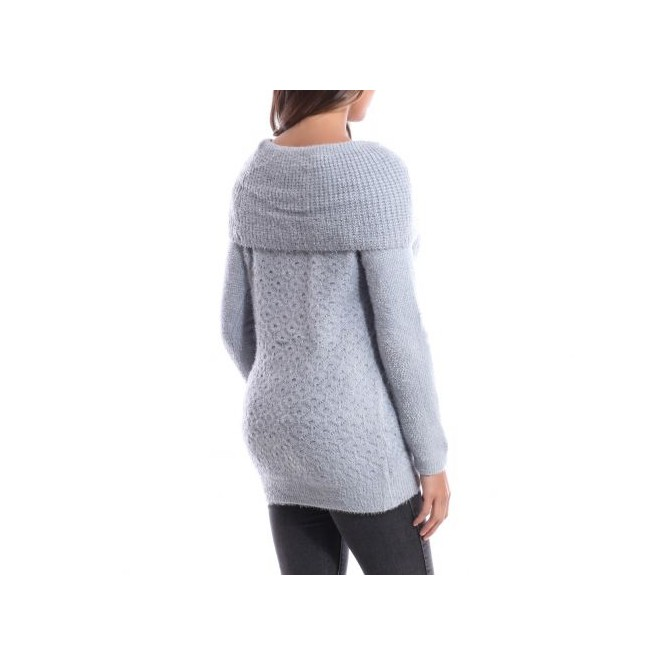 Pull col tombant gris