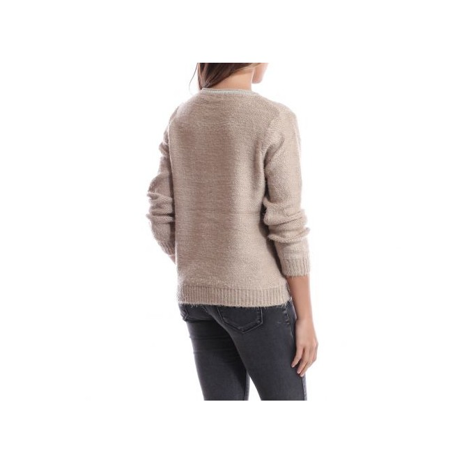 Pull col rond irisé taupe