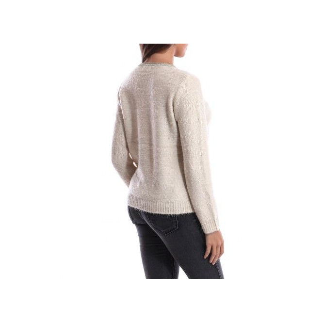 Pull col rond irisé beige