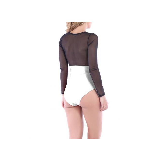 Body manches longues en tulle blanc