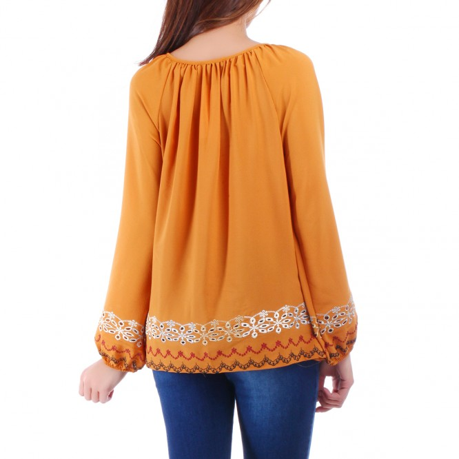 Blouse jaune ornement broderie