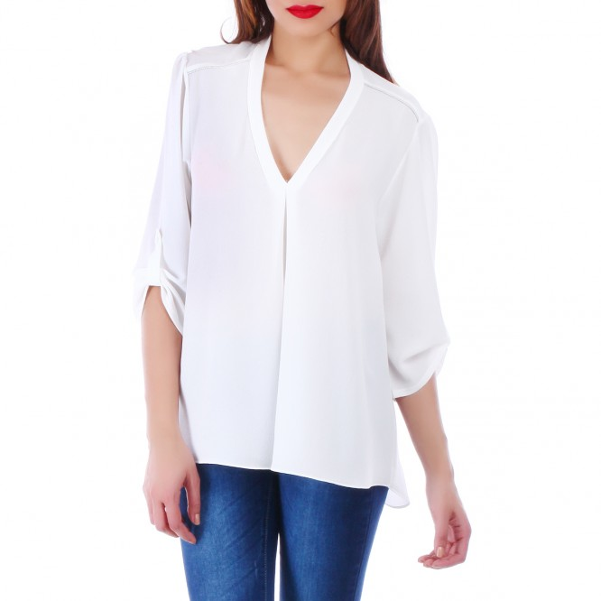 Blouse blanche col V