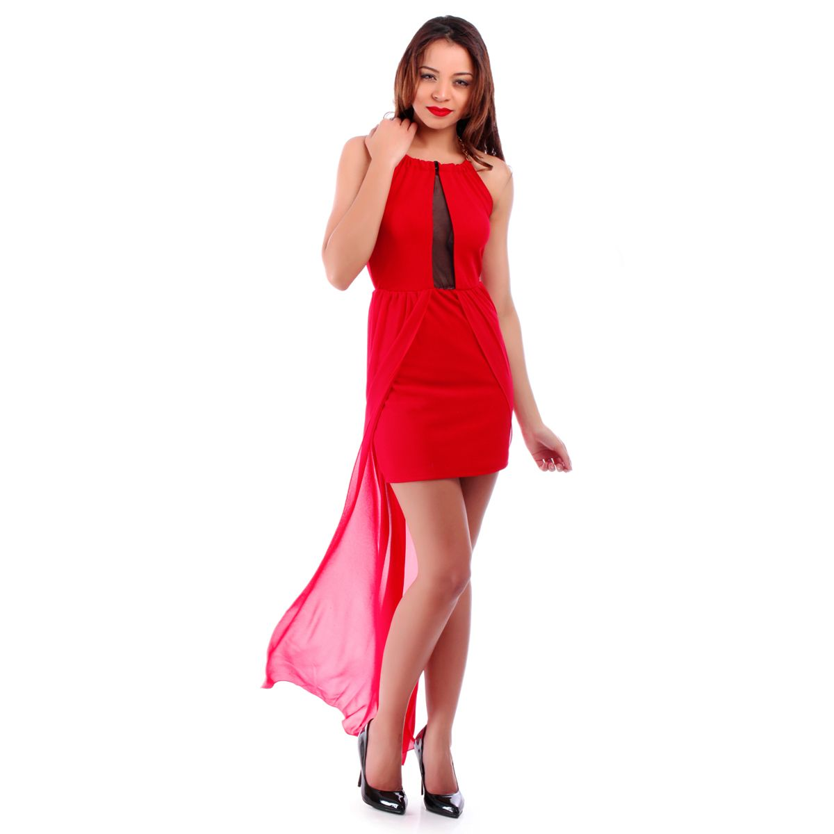 Actrice femme robe rouge matrix