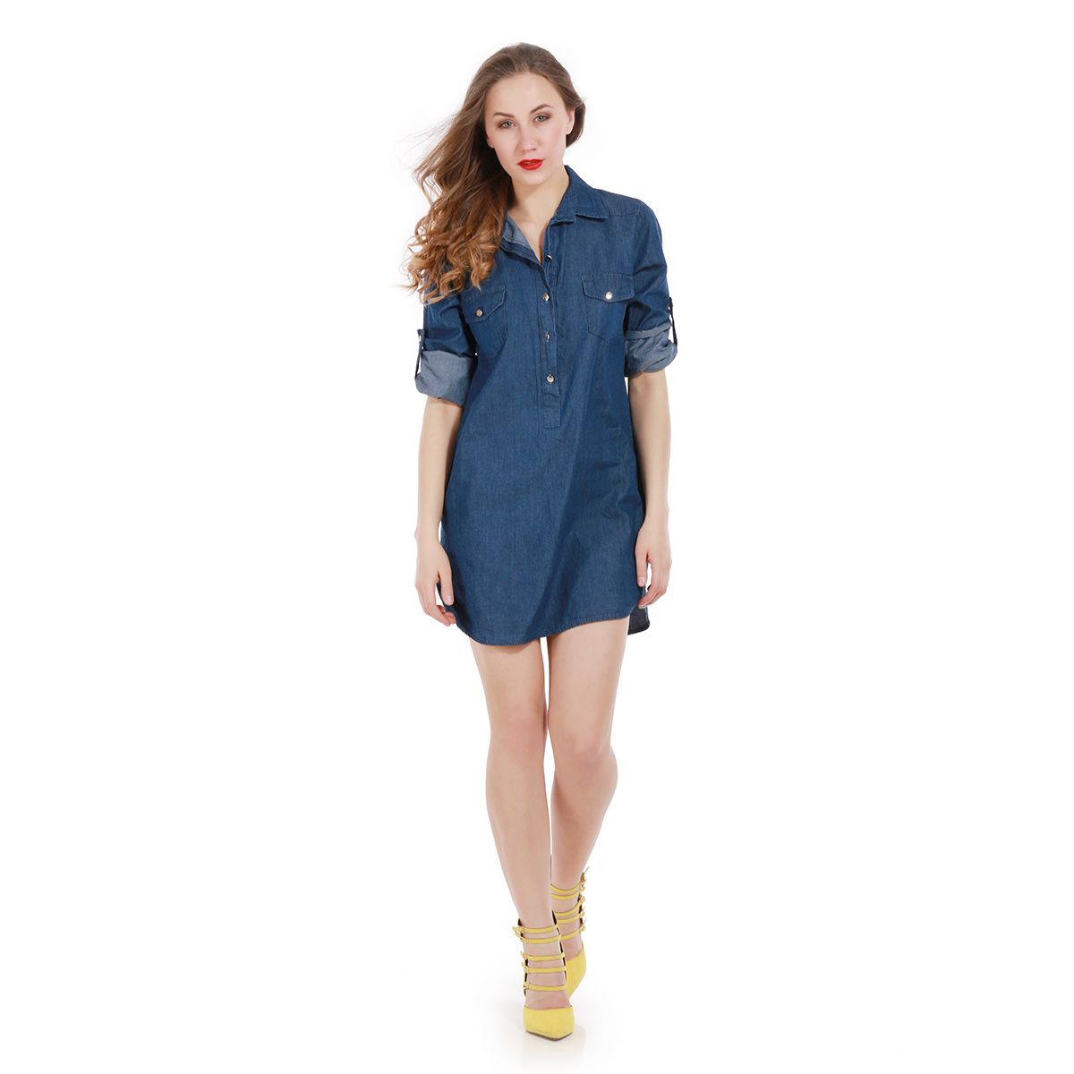 vetements femme robe chemise en jeans bleu fonc avec poches pas cher. Black Bedroom Furniture Sets. Home Design Ideas