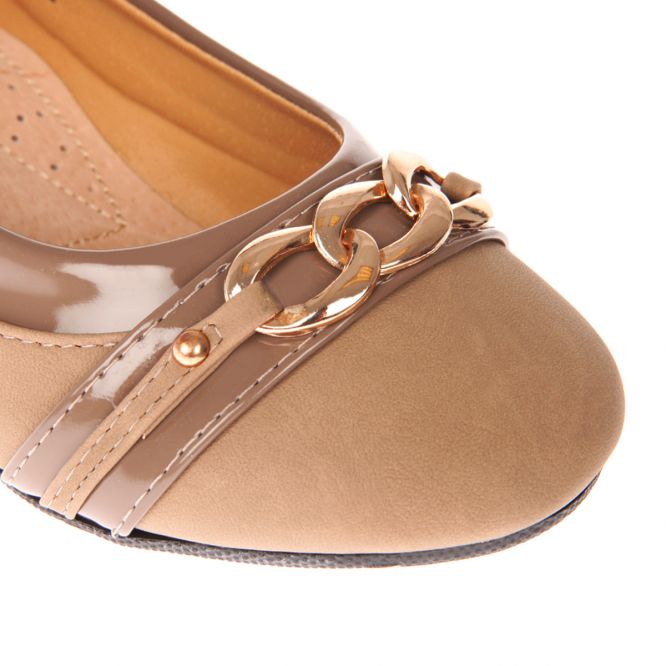 Ballerines confort aspect cuir taupe