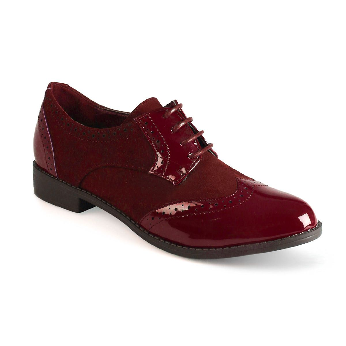 La Modeuse Derbies vernis bordeaux Rouge - Chaussures Derbies Femme