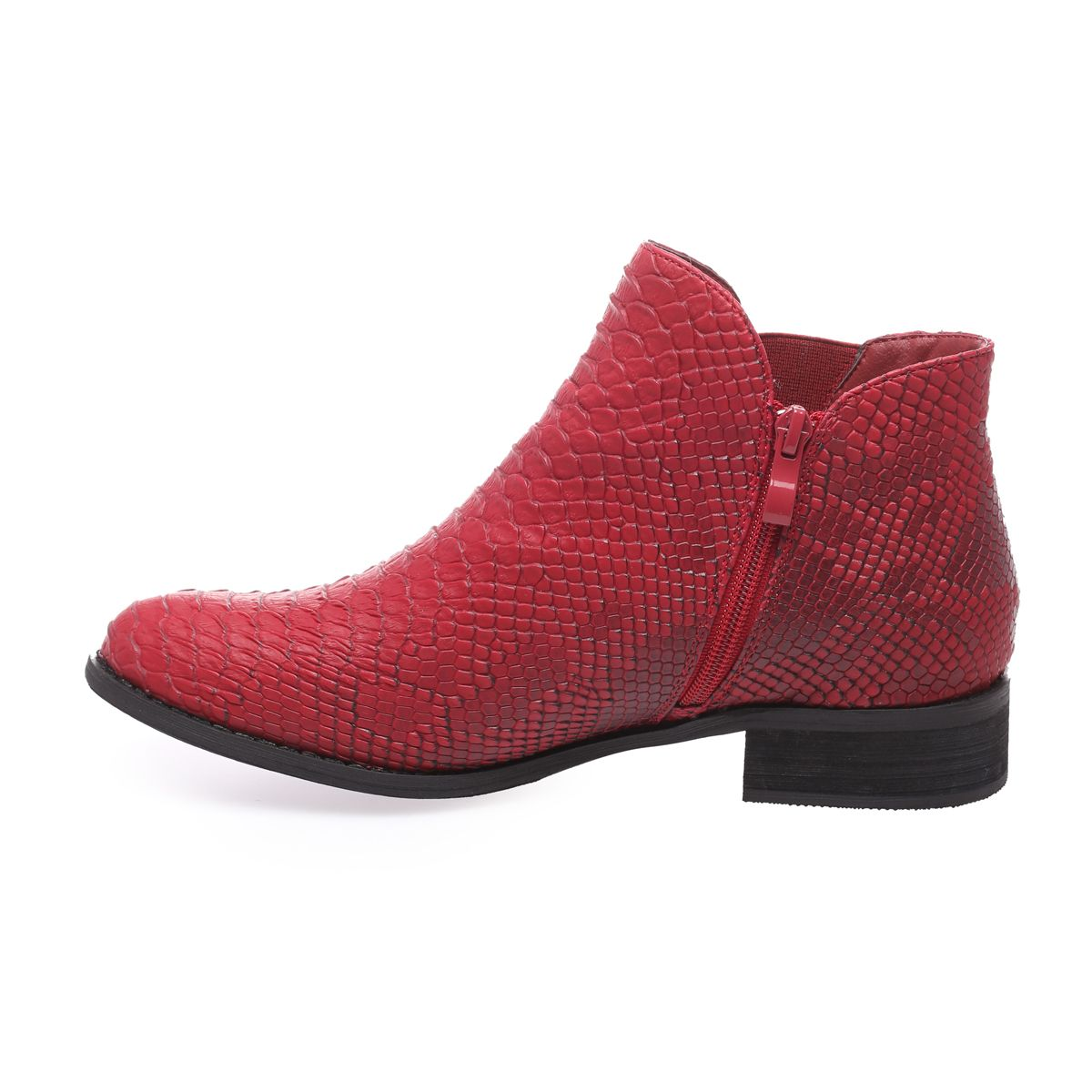 bottines rouges aspect croco femme pas chere
