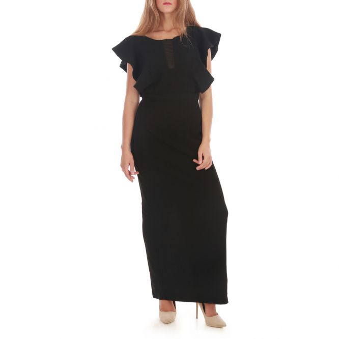 Maxi robe manches froufrous noir