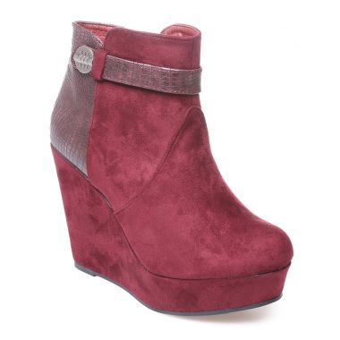 Bottines rouges imprimé reptile