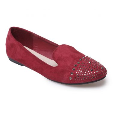 Slippers bordeaux détail strass