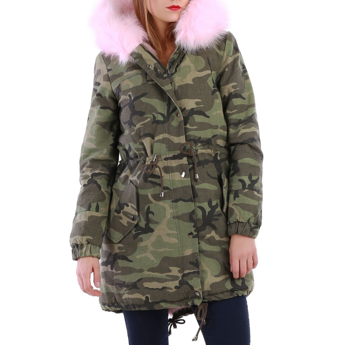 parka camouflage doublure fourrure rose femme pas cher la modeuse. Black Bedroom Furniture Sets. Home Design Ideas