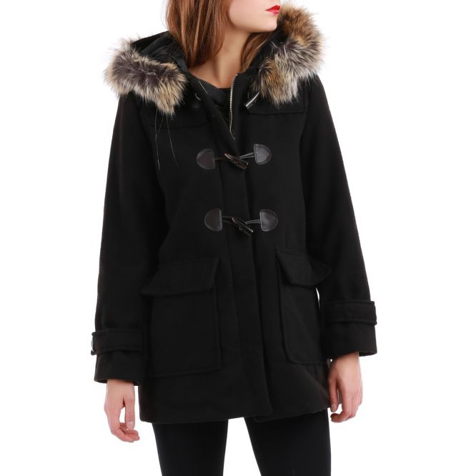 manteau noir style duffle coat avec capuche fourrure pas cher la modeuse. Black Bedroom Furniture Sets. Home Design Ideas
