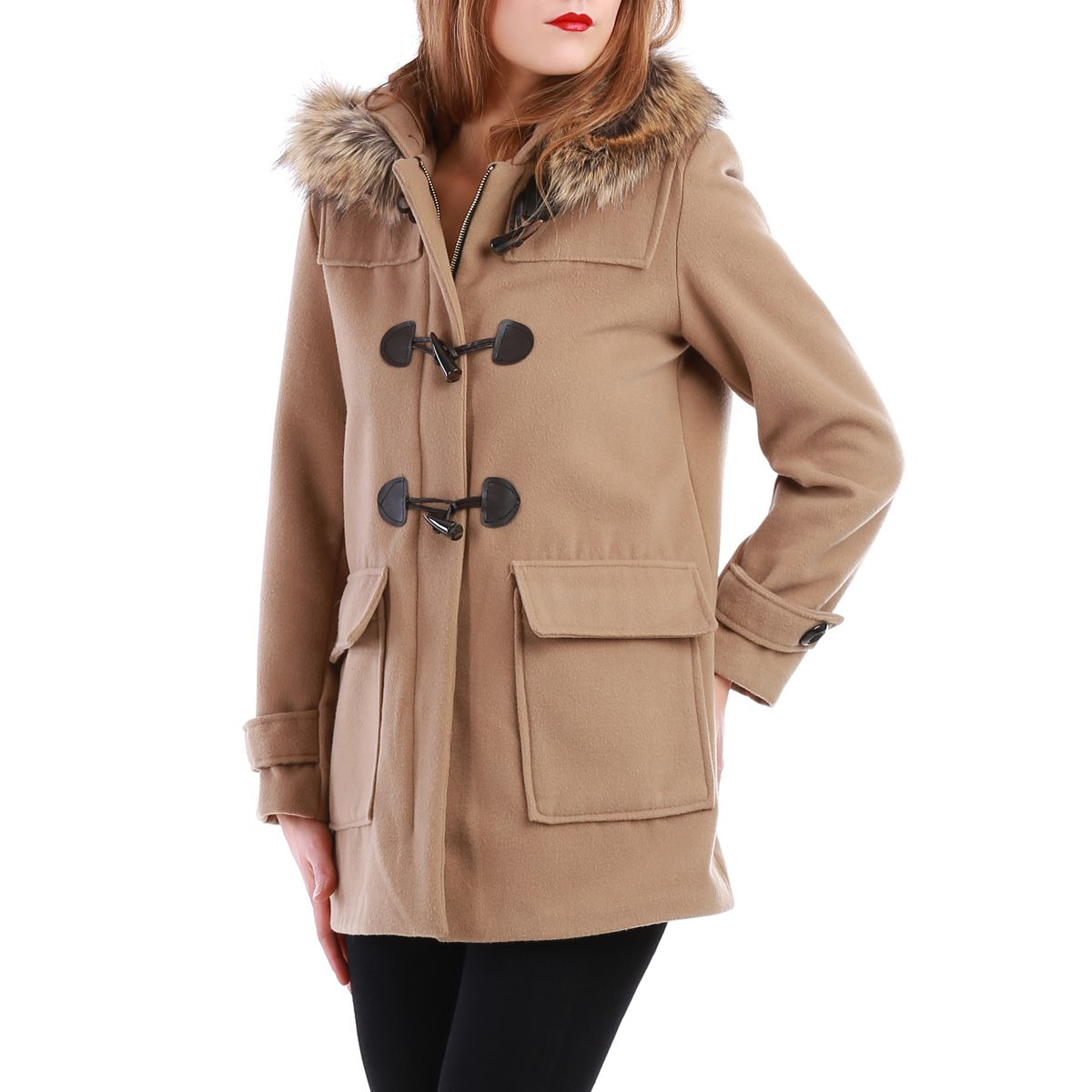 manteau beige style duffle coat avec capuche fourrure pas. Black Bedroom Furniture Sets. Home Design Ideas