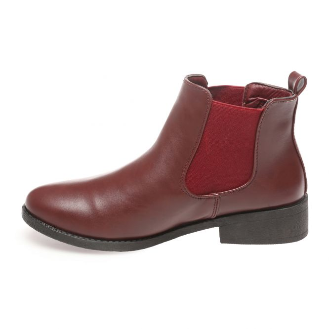 Bottines chelsea bordeaux à talon plat