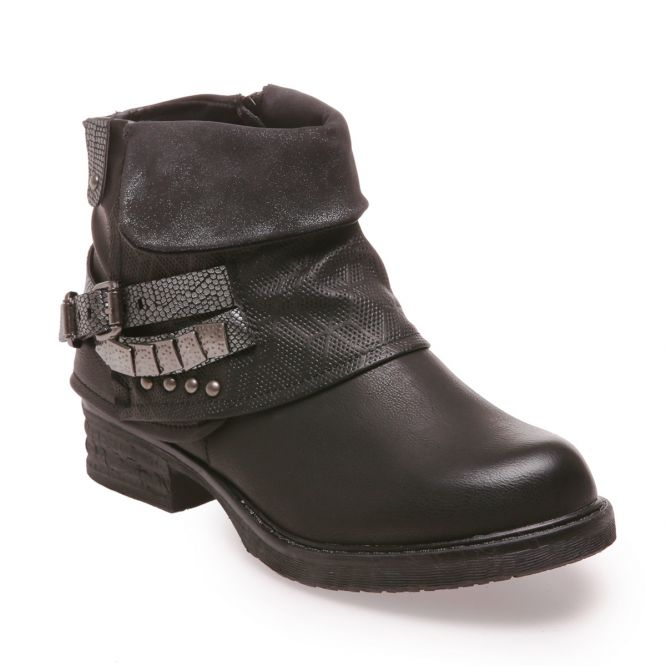 Bottines revers noires multibrides