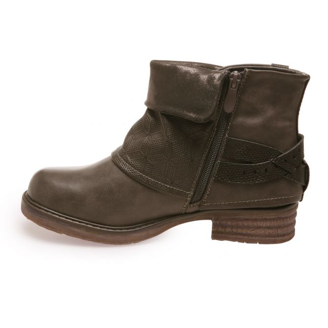 Bottines revers marron foncé multibrides