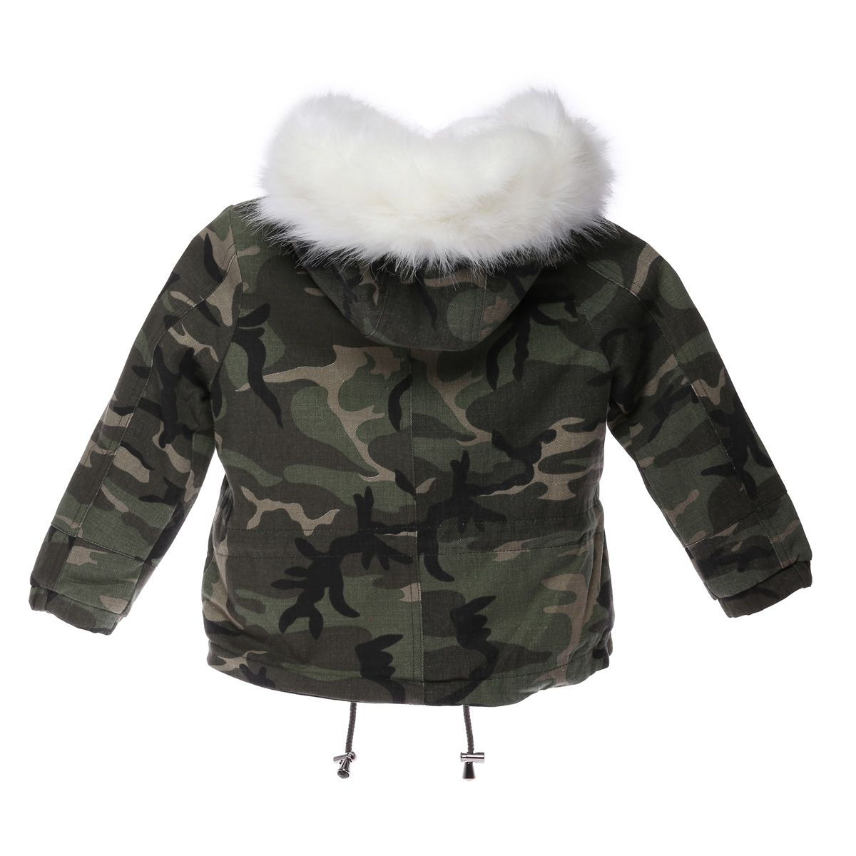 parka camouflage enfant fourrure blanche la modeuse. Black Bedroom Furniture Sets. Home Design Ideas