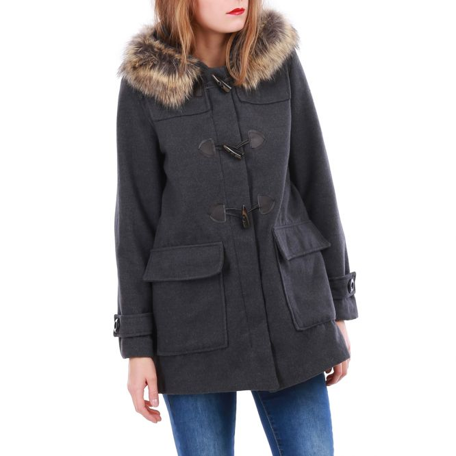 Manteau gris style duffle-coat. cd23d47b093