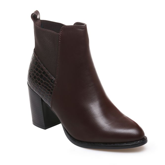 40af1327f8f Bottines marron simili cuir détails croco