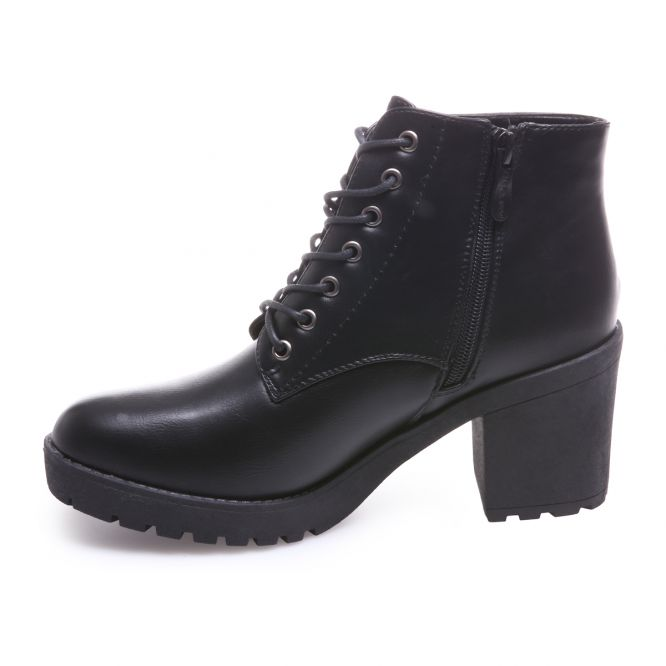 Bottines rangers noires à talon